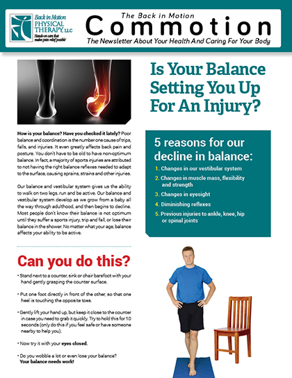 Balance Back in Motion Physical Therapy Newsletter